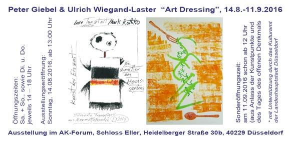 """Kunstausstellung  """"Art-Dressing"""" im AK-Forum mit Werken von  Peter Giebel und Ulrich Wiegand-Laster"""